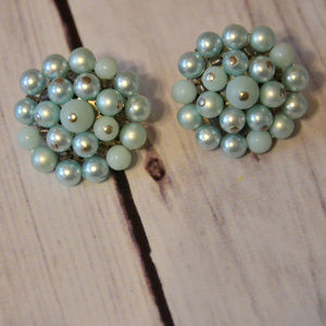 vintage light blue cluster earrings beaded round